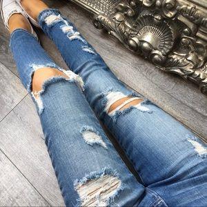*REPOSH BEACHIN Blue Destroyed Jeans